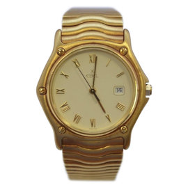 Ebel Wave 18K Yellow Gold & Gold Dial Mens Watch