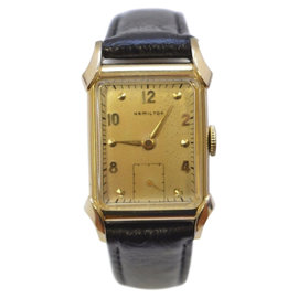 Hamilton 14K Yellow Gold with Leather Band 23.5mm Unisex Watch