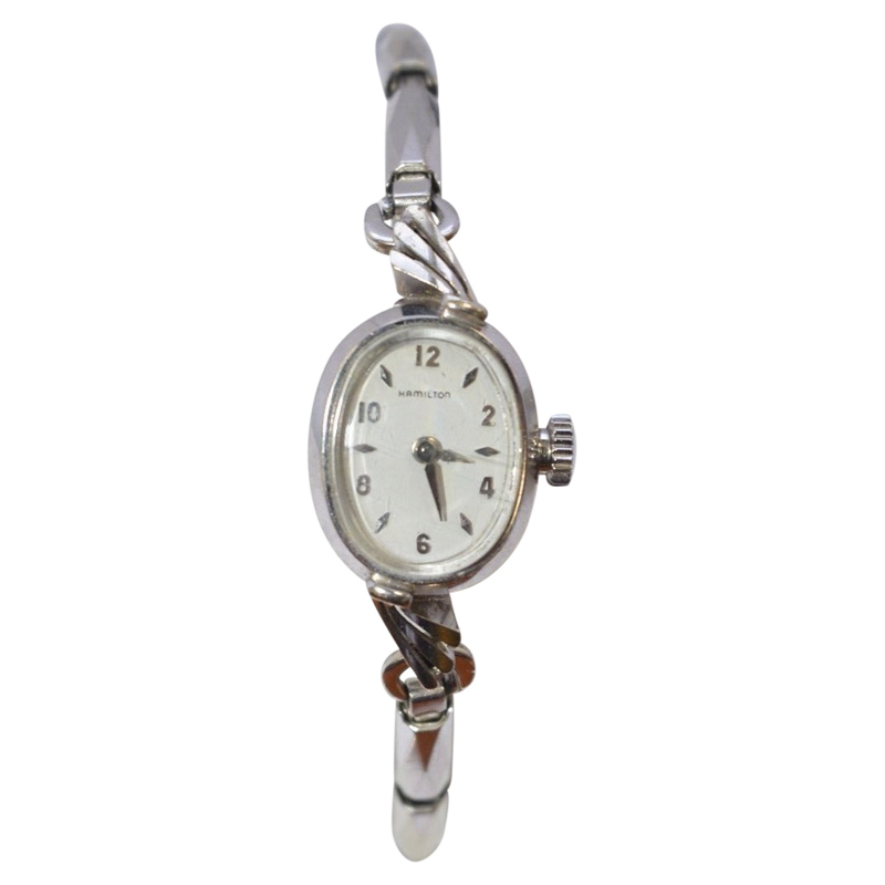 "Image of ""Hamilton 14K White Gold 14mm Womens Vintage Watch"""