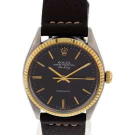 Rolex Air King 5500 Oyster Perpetual Stainless Steel 18K Yellow Gold Vintage Mens Watch