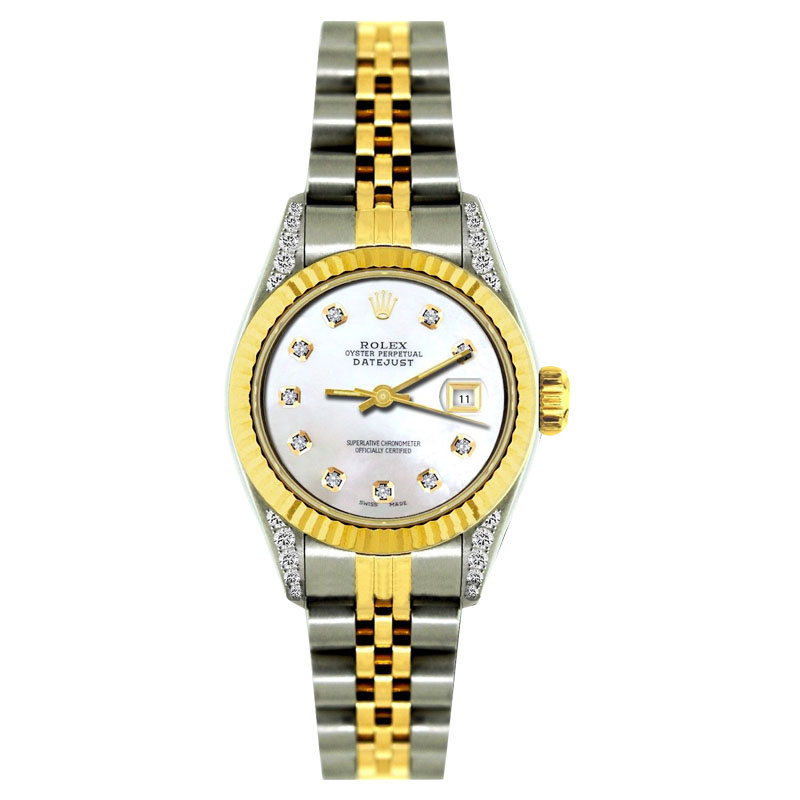"Image of ""Rolex Datejust 18K Yellow Gold & Stainless Steel With White Mother Of"""