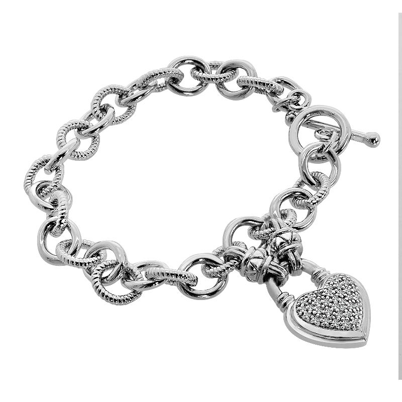 "Image of ""Sterling Silver 0.25 Ct Diamond Heart Charm Bracelet"""