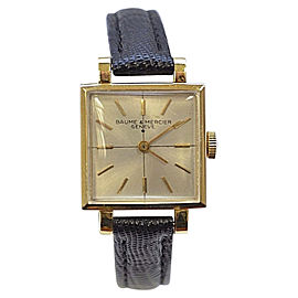 Baume & Mercier 14K Yellow Gold & Leather Manual 27mm Womens Watch