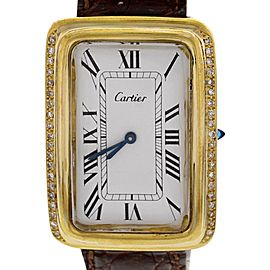Cartier Electroplated 18K Yellow Gold & Leather Diamond 27mm Watch