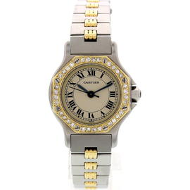 Cartier Santos 18K Yellow Gold & Stainless Steel Diamond 24mm Watch