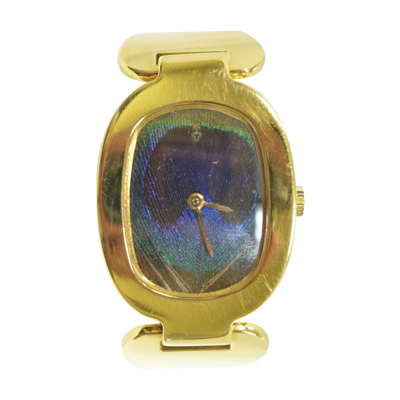 """Image of """"Corum 18K Yellow Gold Peacock Feather Dial Manual 28mm Vintage Womens"""""""