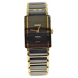 Rado Diastar Two Tone Gold & Black Ceramic Quartz 21 mm Unisex Watch
