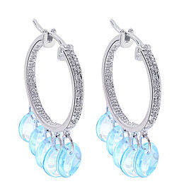 14K White Gold 4.00 Ct Blue Topaz and 0.10 Ct Diamond Classic Hoop Earrings