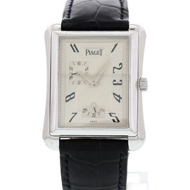 Piaget Emperador 18900 18K White Gold & Leather 30mm Watch