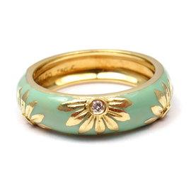 Hidalgo 18k Yellow Gold Blue Green Enamel Diamond Sun Flower Size 6 Ring