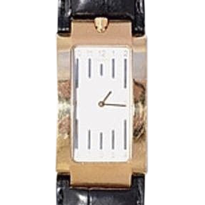 "Image of ""Movado Elliptica 18K Rose Gold & Leather Silver Face Automatic 25mm x"""