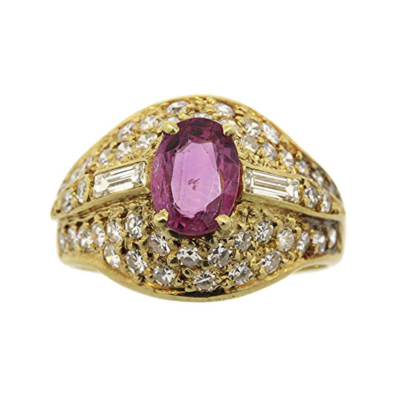"Image of ""18K Yellow Gold With Oval Pink Sapphire & .60ct Diamond Cocktail Ring"""