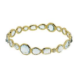 Ippolita Rock Candy 18k Yellow Gold Light Blue Topaz Bangle Bracelet