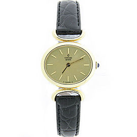 Concord 18K Yellow Gold / Leather with Gold Dial 28mm Womens Watch