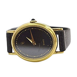 Concord 18K Yellow Gold / Leather with Black Dial Vintage 23mm Womens Watch