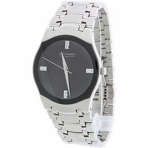 "Image of ""Wittnauer C8671097 Stainless Steel Diamond Sapphire Crystal Black Face"""