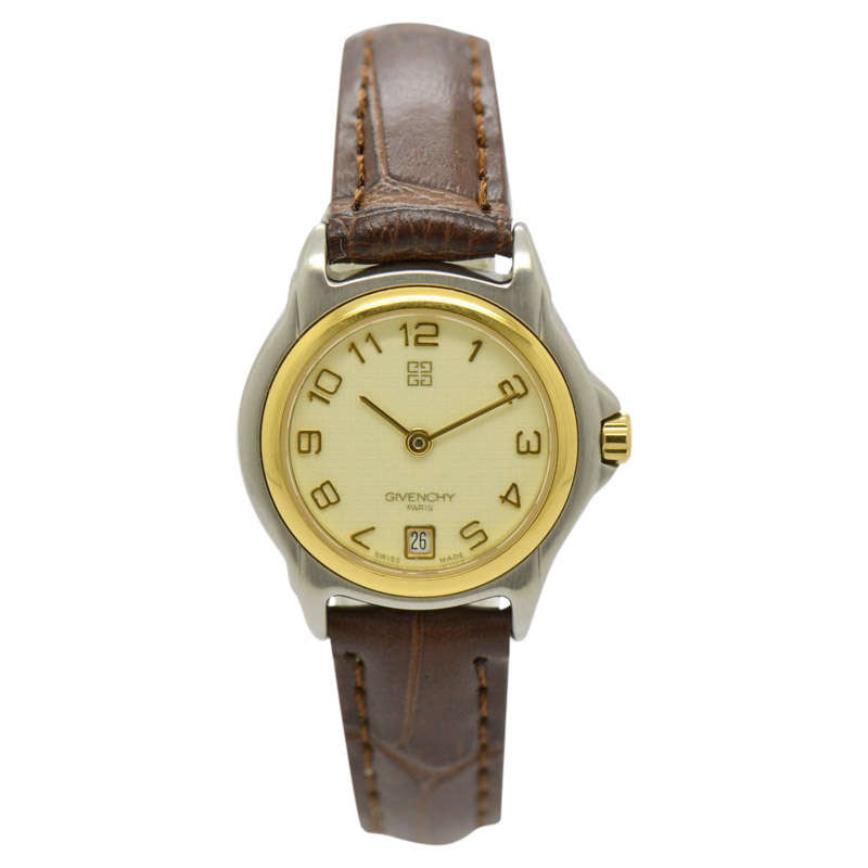 "Image of ""Givenchy Date Stainless Steel & Leather 24mm Womens Watch"""