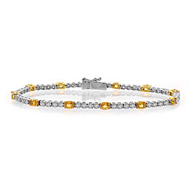 18K Yellow & White Gold 2.00ct Diamond & 2.75ct Sapphire Tennis Bracelet