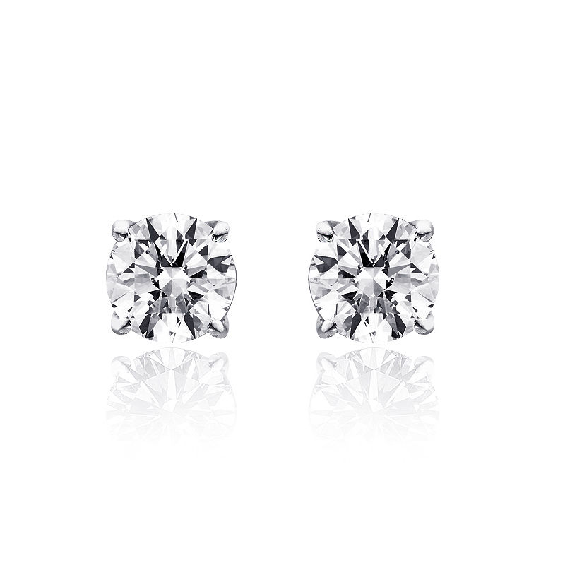"Image of ""14K White Gold 1.00ct. Round Cut Diamond Solitaire Stud Earrings"""
