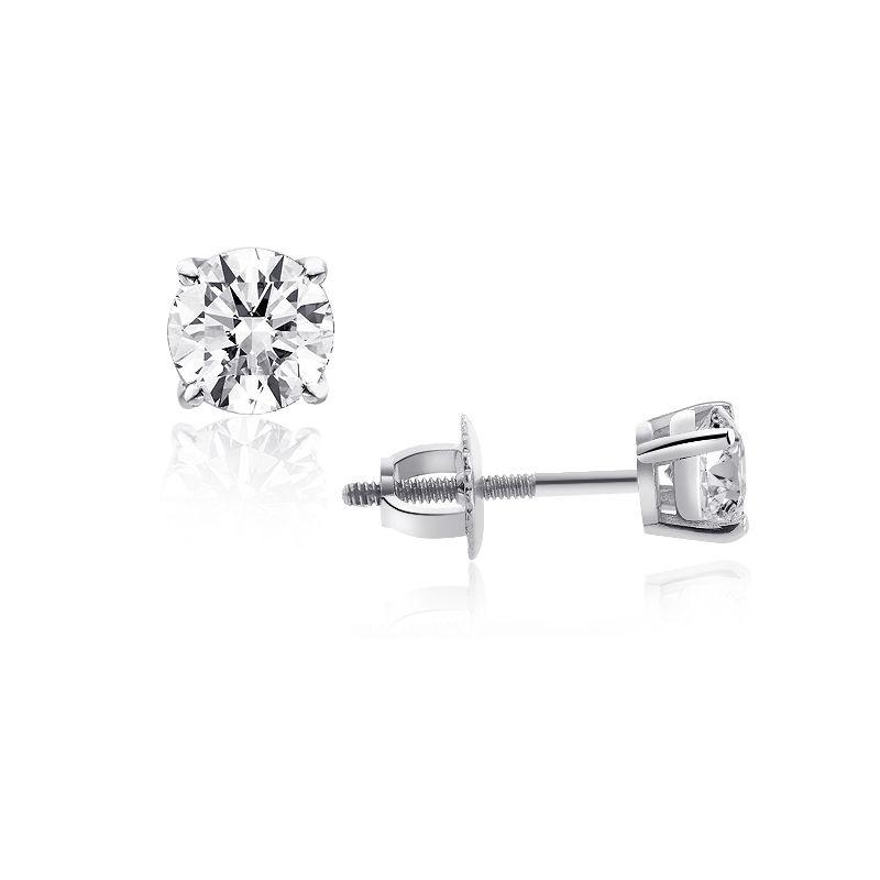 "Image of ""14K White Gold 0.69 Ct Round Brilliant Cut Diamond Solitaire Stud"""