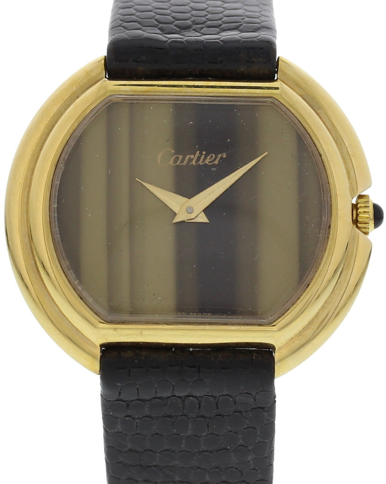 """""Cartier 18K Yellow Gold W/ Tiger Eye Dial Vintage 32mm Watch 1970's"""""" 926525"