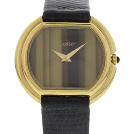 Cartier 18K Yellow Gold W/ Tiger Eye Dial Vintage 32mm Watch 1970's