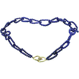 Tiffany & Co. 18K Yellow Gold & Blue Lapis Bead Chain Necklace