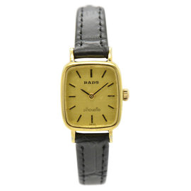 Rado Silhouette Gold Plated & Leather 19mm Womens Watch