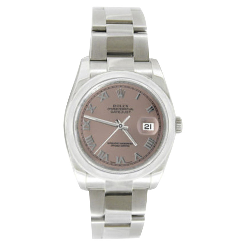 """Image of """"Rolex Datejust Oyster Steel 116200 Salmon Roman Dial Smooth Bezel Mens"""""""
