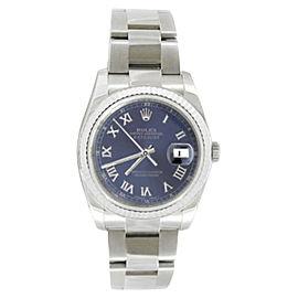 Rolex Oyster Datejust 116234 Steel Blue Roman Dial 18K Gold Bezel Mens 36mm Watch