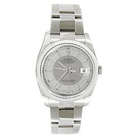 Rolex Datejust 116234 STSISO Oyster Steel Silver Tuxedo Stick 18K Gold Bezel Mens 36mm Watch