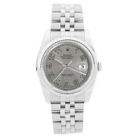 Rolex Datejust 116234 srj Silver Con Arabic Dial 18K Gold Bezel Mens 36mm Watch