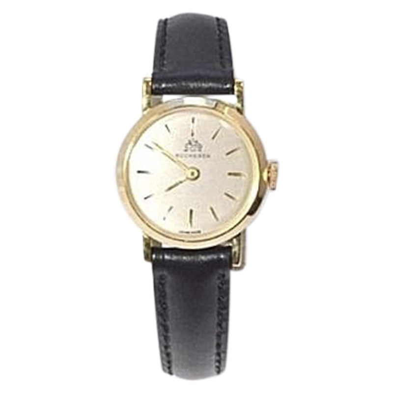 "Image of ""Bucherer 18K Yellow Gold & Leather Manual 20mm Womens Watch"""