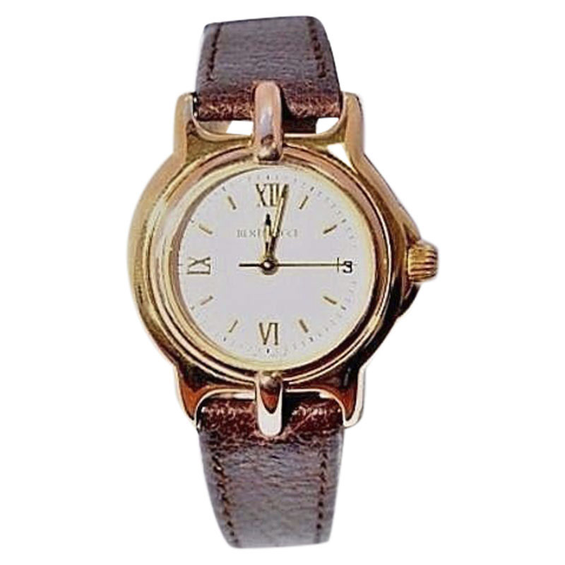 "Image of ""Bertolucci Pulchra 18K Yellow Gold / Leather 24mm Womens Watch"""