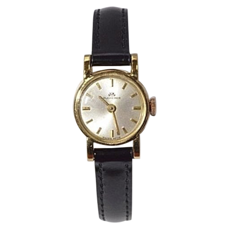 "Image of ""Bucherer 18K Yellow Gold / Leather 17mm Womens Watch"""