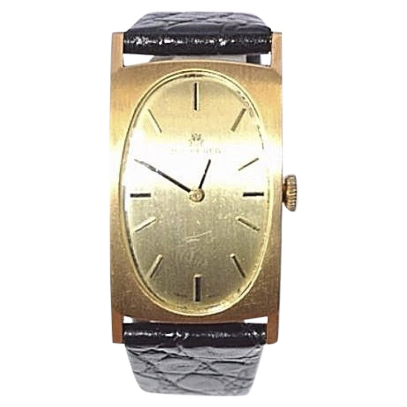 "Image of ""Bucherer 18K Yellow Gold / Leather Vintage 22mm Mens Watch"""