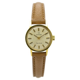 Omega Geneve Gold Plated & Leather Hand-Winding 20mm Womens Watch