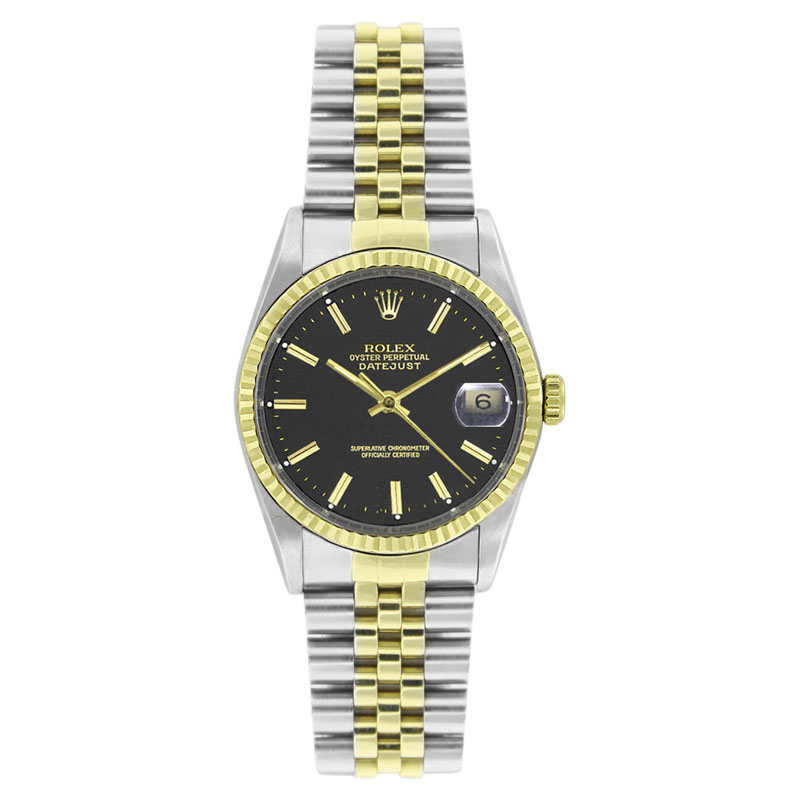 """Image of """"Rolex Datejust 16013 Stainless Steel and 18K Yellow Gold Black Stick"""""""