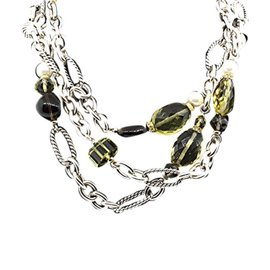David Yurman Sterling SIlver and 18k Yellow Gold Peridot, Quartz and Pearl Bijoux Chain Necklace