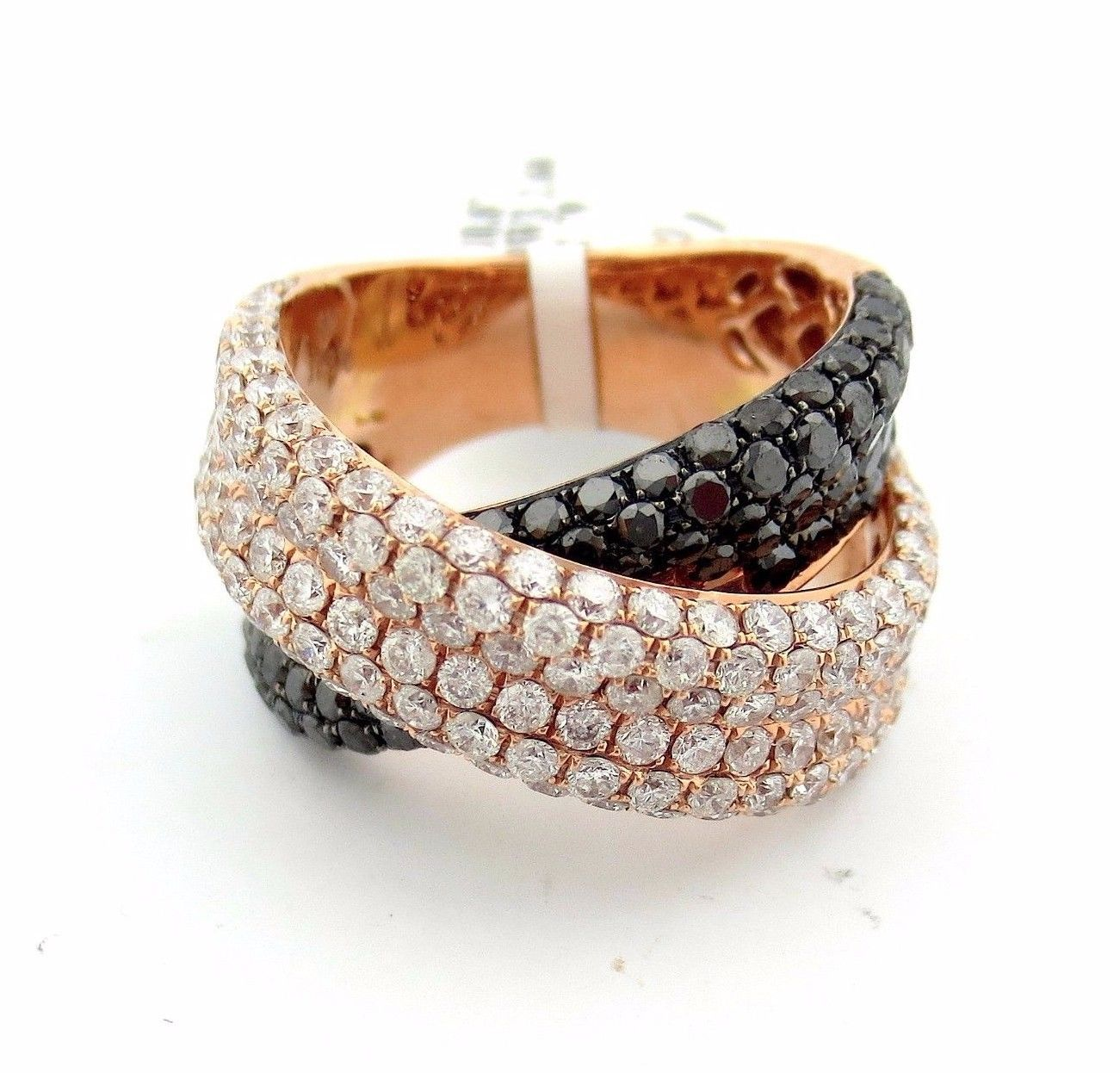 "Image of ""14K Rose Gold 4.39 Ct Round Brilliant White & Black Diamond X Cross"""