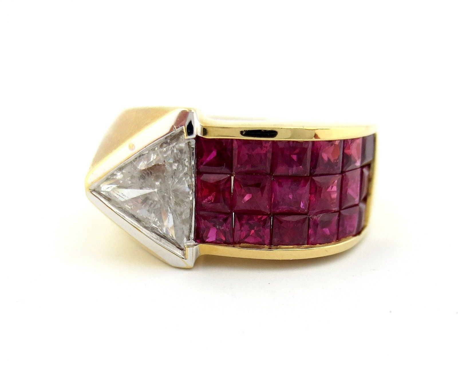 "Image of ""18K Yellow and White Gold Triangle Trillion Diamond & Rubies Arrow"""