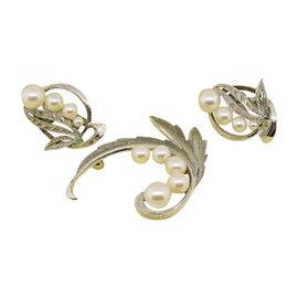 Mikimoto Sterling Silver Pearl Vintage Non-Pierced Earrings & Pin Brooch