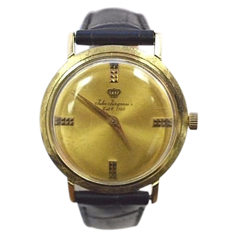 "Image of ""Jules Jurgensen 14K Yellow Gold / Leather 33mm Unisex Watch"""
