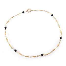 14K Yellow Gold Black and White Beads Ankle Bracelet