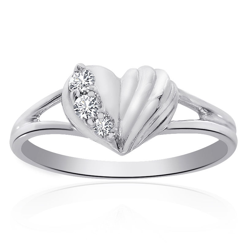 "Image of ""14K White Gold 0.10 Ct Round Cut Diamond Heart Ring Size 6.75"""
