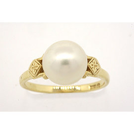 Mikimoto Vintage 14K Yellow Gold Pearl Solitaire Ring Band Size 6.5