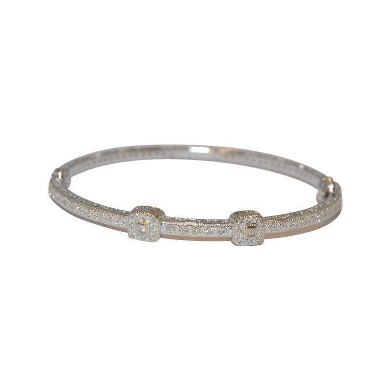 "Image of ""Charriol 18K White Gold 0.40cts Diamond Bangle Bracelet"""