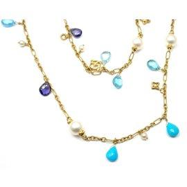 David Yurman 18K Yellow Gold Turquoise Pearl Tanzanite Bead Necklace