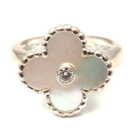 Van Cleef & Arpels 18K White Gold Vintage Alhambra Mother of Pearl and 0.20 Ct Diamond Ring Size 6