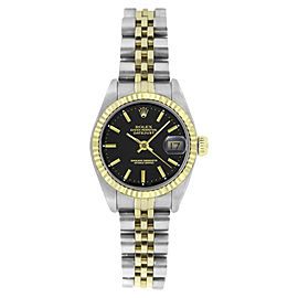 Rolex Datejust 6917 Stainless Steel and 18K Yellow Gold Black Stick Dial 26mm Womens watch